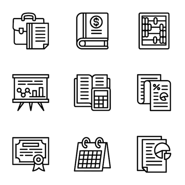 Tax icon set. outline set of 9 tax icons Premium Vector