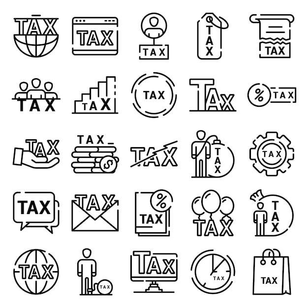 Tax icons set, outline style Premium Vector
