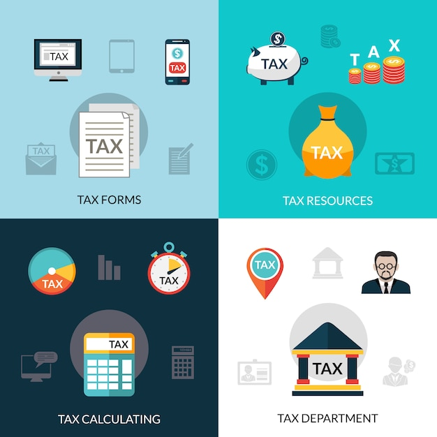 Tax icons set Free Vector