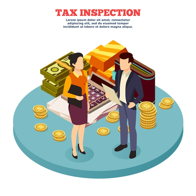 Tax inspection isometric composition Free Vector