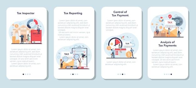 税務調査官モバイルアプリケーションバナーセット。税の報告と管理のアイデア。 Premiumベクター