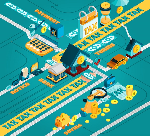 Tax isometric concept Free Vector