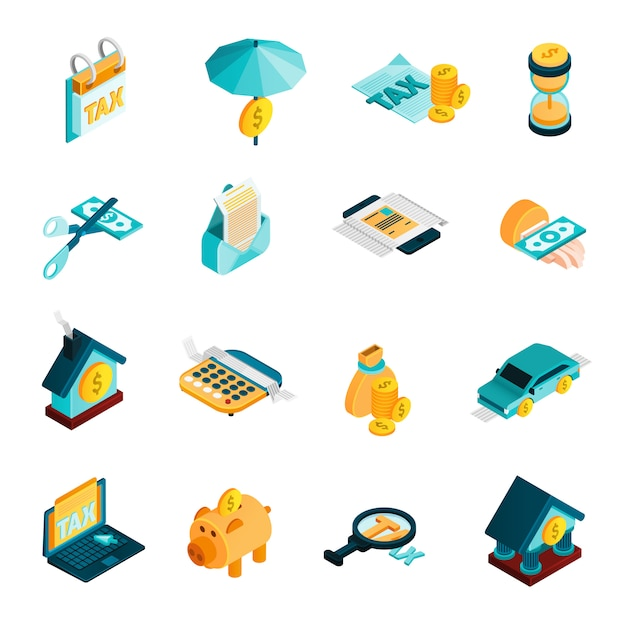 Tax isometric icons set Free Vector