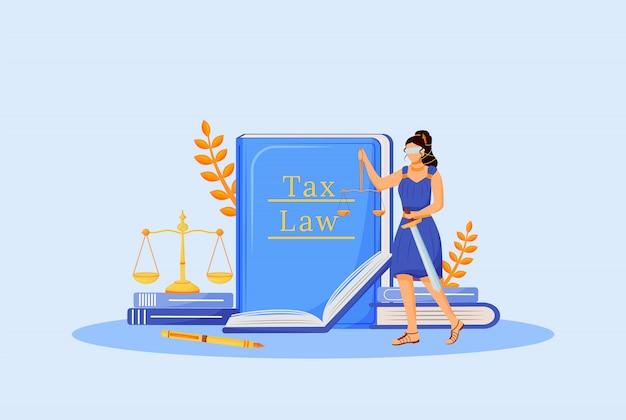 Налоговое право плоской концепции иллюстрации. фемида 2d мультипликационный персонаж для веб-дизайна. экономическое образование, финансовая грамотность. изучение налоговой политики, креативная идея юридического обязательства Premium векторы