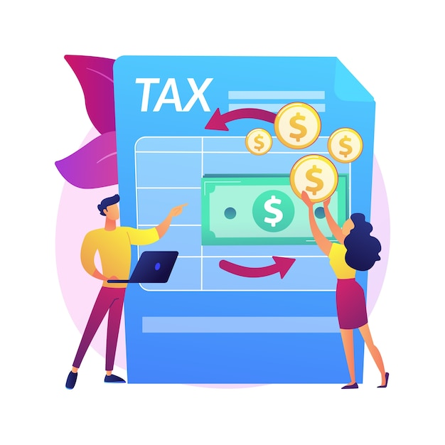 Tax paperwork. income statement document. money transaction process. bookkeeping consultation. accounting process, invoice payment, financial analysis.  isolated concept metaphor illustration Free Vector