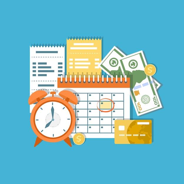 納税日当日。所得税、月割り、期間。金融カレンダー、時計、お金、現金、金貨、クレジットカード、請求書。給料日。図 Premiumベクター