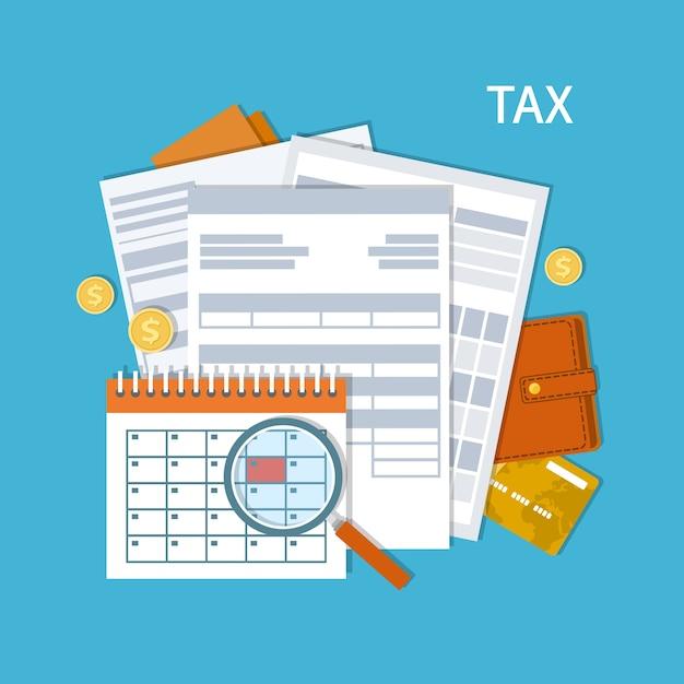 納税。政府、州税。支払い日。税務フォーム、財務カレンダー、虫眼鏡、お金、金貨、財布、クレジットカード、請求書。給料日。図。 Premiumベクター