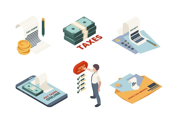 Tax payment isometric. legal service online invoice accountant declaration tax return  concept illustrations. Premium Vector