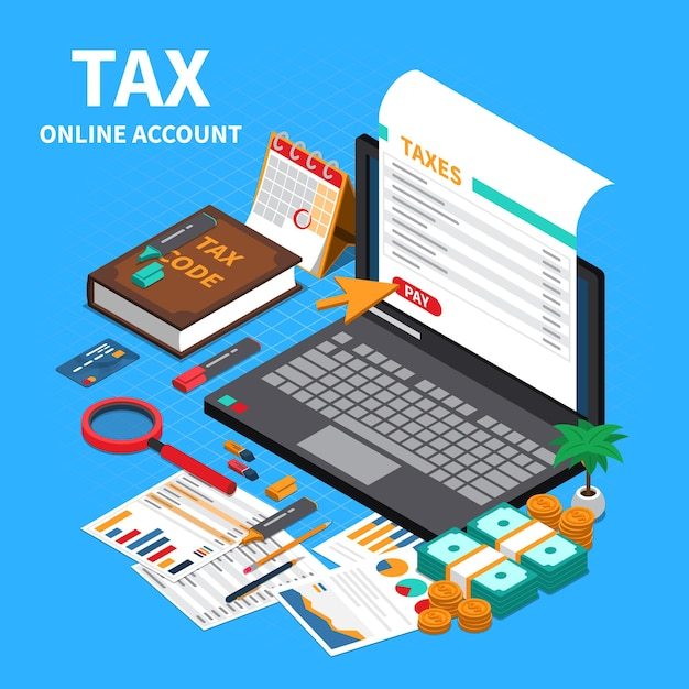 Tax statement on web isometric composition with laptop screen online account code specifications handbook payment Free Vector