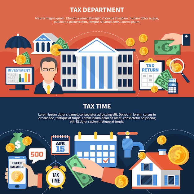 Tax time horizontal banners Free Vector