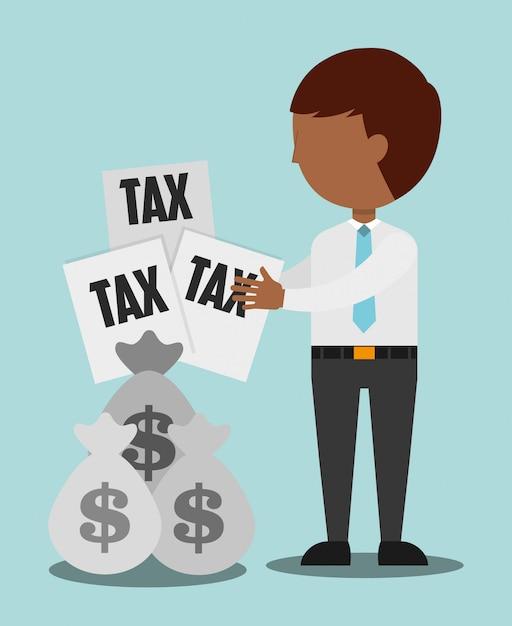 Illustrazione del tempo fiscale, uomo con documenti fiscali e sacchi di denaro Vettore gratuito