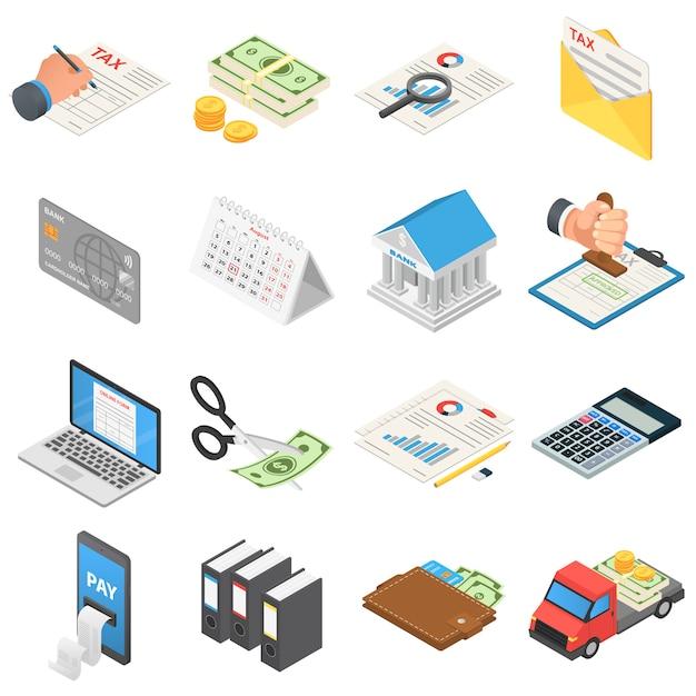 Taxes accounting money icons set Premium Vector