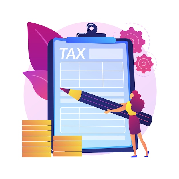Taxes calculation. financial management. achieving success. completed labour, noted obligation, executed task. responsible man ticking list with pencil.  isolated concept metaphor illustration. Free Vector