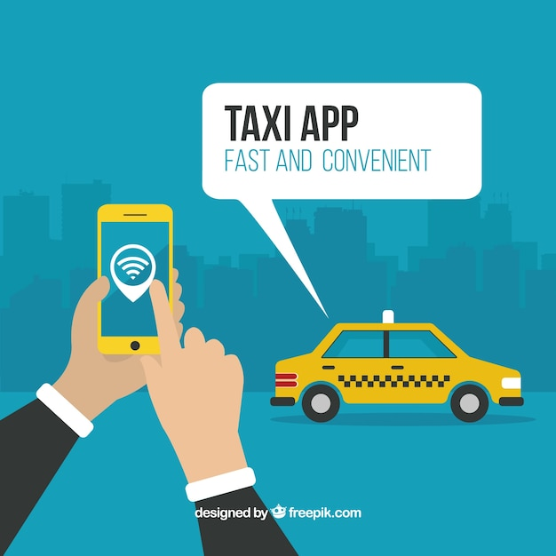 Taxi app background Free Vector