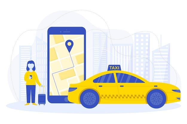Taxi app concept design Free Vector