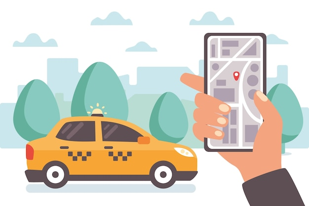 Taxi app concept illustrated Free Vector