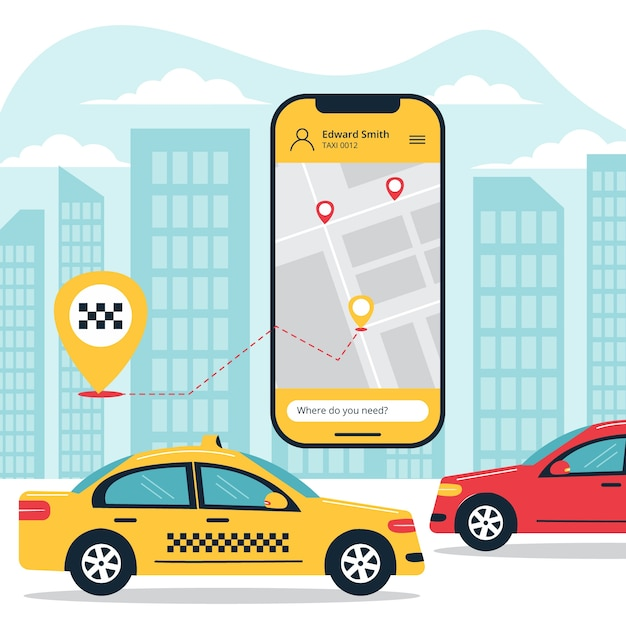 Taxi app concept illustration theme Free Vector