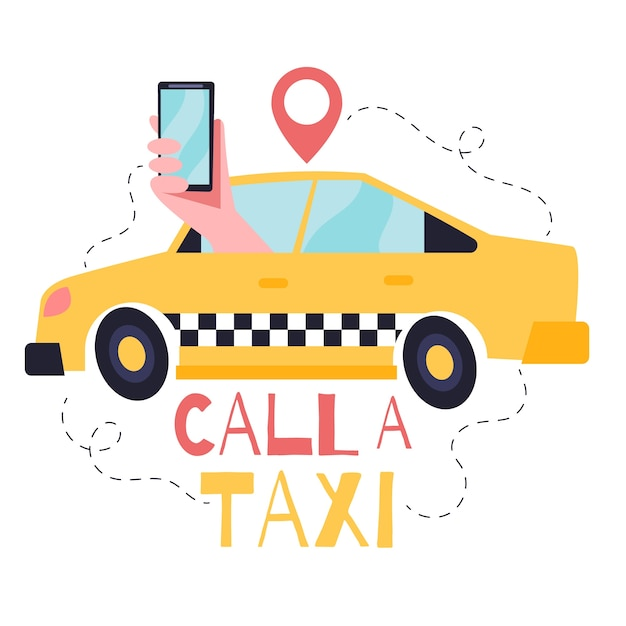 Taxi app concept illustration with taxi and hand Free Vector