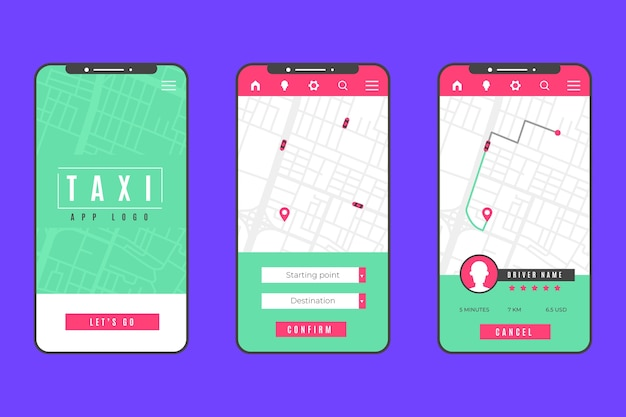 Taxi app concept interface Free Vector