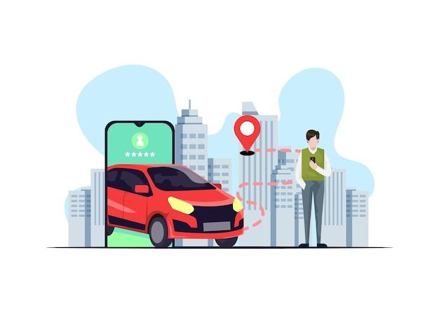 Концепция приложения такси с иллюстрациями Premium векторы