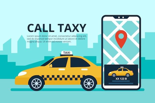 Концепция приложения такси с интерфейсом телефона Бесплатные векторы