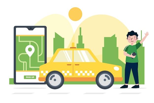 Taxi app concept Free Vector