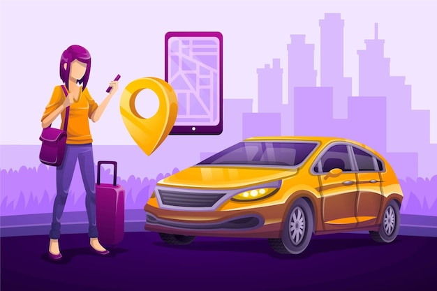 Taxi app illustrated concept Free Vector
