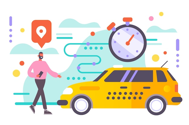 Taxi app illustrated design Free Vector