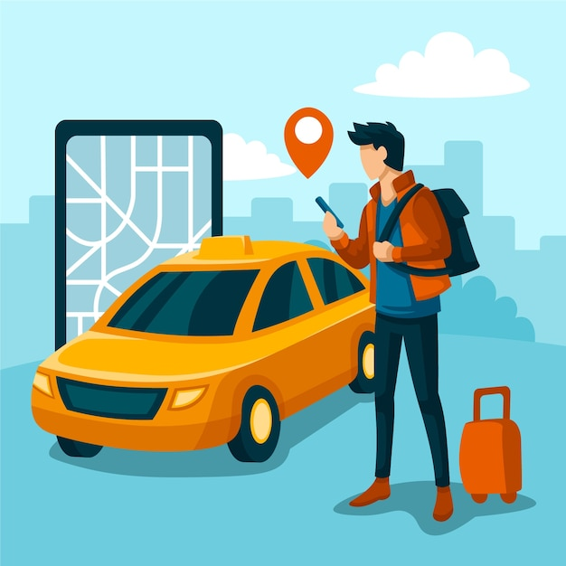 Taxi app illustrated Free Vector