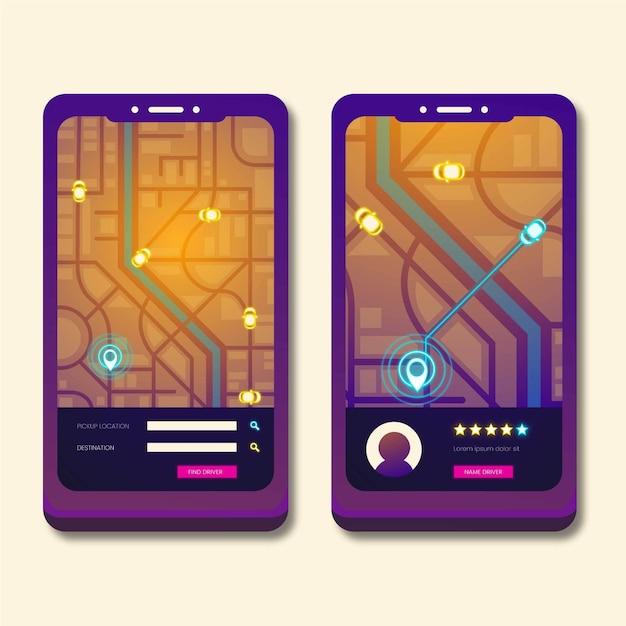Taxi app interface design Free Vector