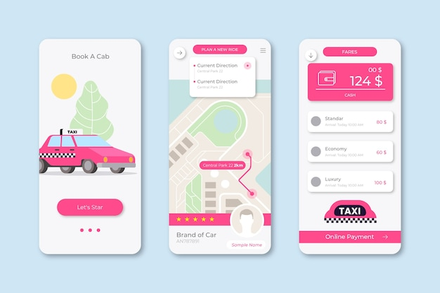Taxi app interface illustrated Free Vector
