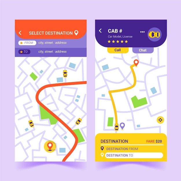 Taxi app interface template Free Vector