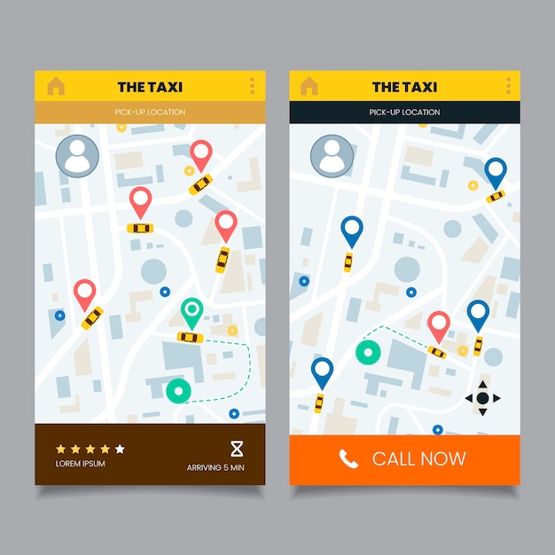 Taxi app interface Free Vector