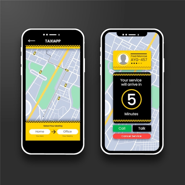 Taxi app interface Free Vector