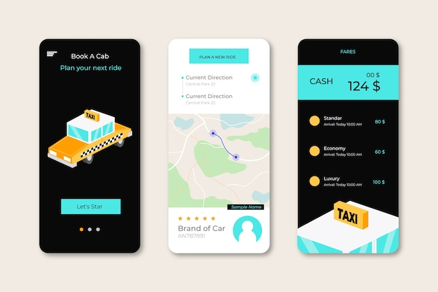 Taxi app interfaces pack Free Vector
