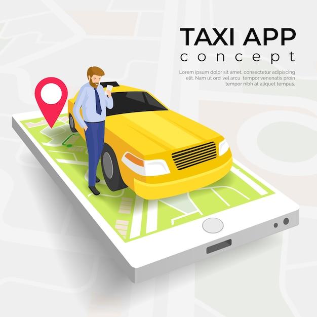 Modello di concetto di servizio app taxi Vettore gratuito