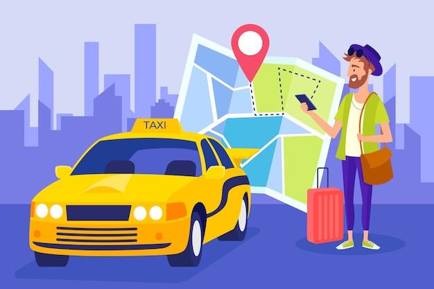 Taxi application concept Free Vector