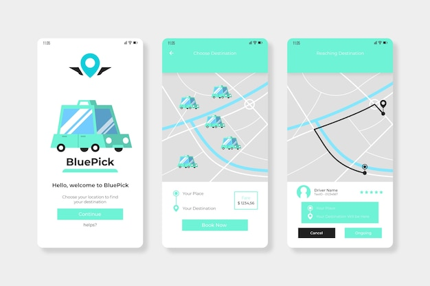 Taxi application interface Free Vector