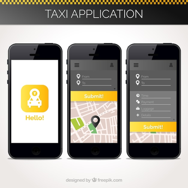 Taxi application template for mobile vector free download for Mobile site template free download