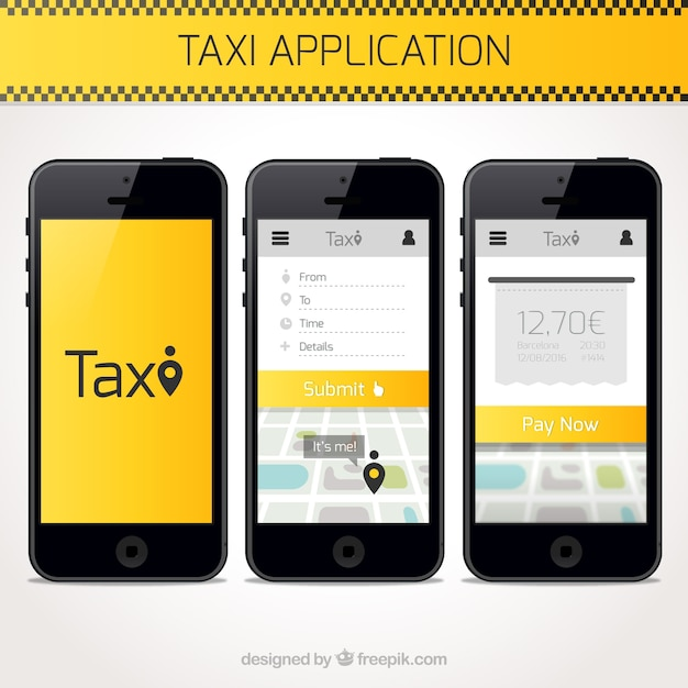 taxi application template vector free download