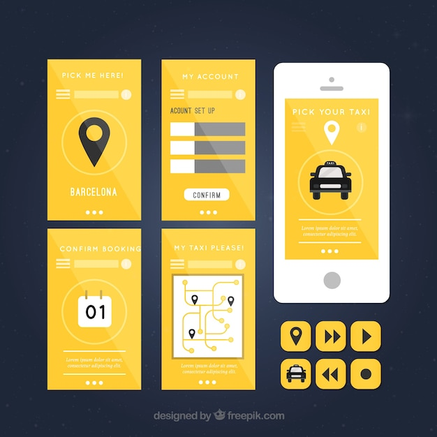 Taxi application with screenshots vector free download for App design online