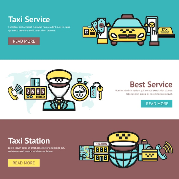 Taxi banner set Free Vector