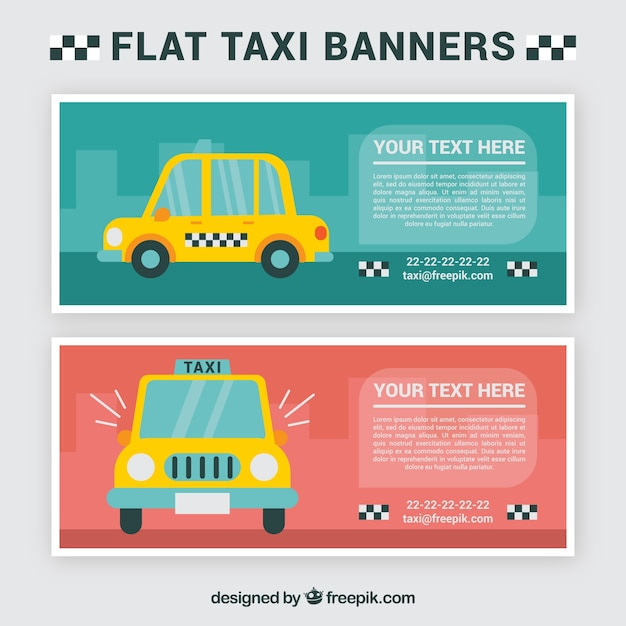 Taxi banners, cartoon style