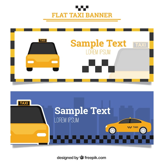 Taxi banners in flat design