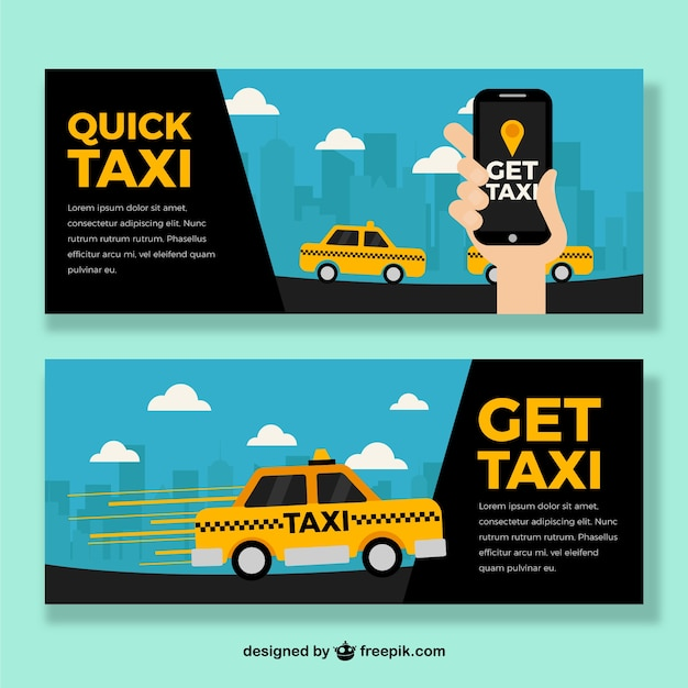 Taxi banners with app