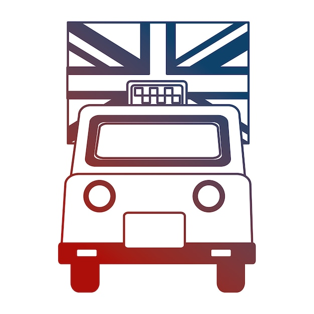 Taxi cab transport england flag design v Premium Vector
