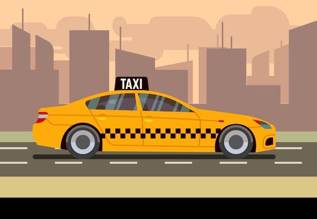 Такси автомобиль плоские векторные иллюстрации Premium векторы