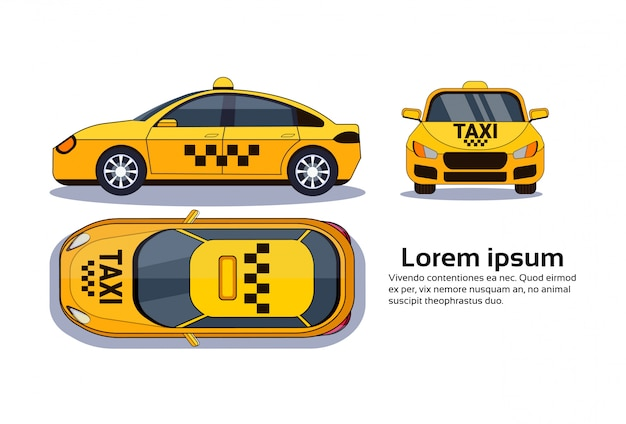 Taxi car on white isolated Premium Vector