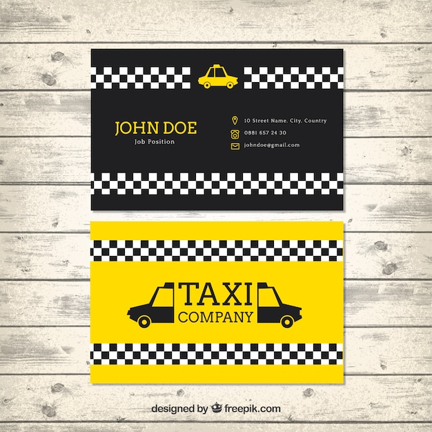 Taxi card template in modern style Free Vector