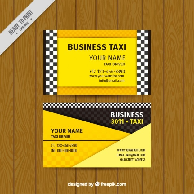 Taxi card in yellow color Free Vector
